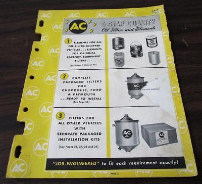 Vintage 1950's AC Oil Filter & Elements 38 Pg Catalog H
