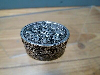 Vintage Continental Silver 800 Pill Trinket Box Floral 26g