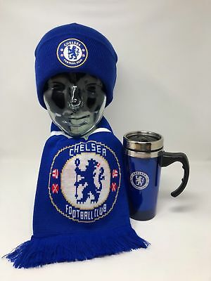 Chelsea Fc Scarf Beanie Hat Gift Set Woolly Winter Gift Set Xmas Official Kid