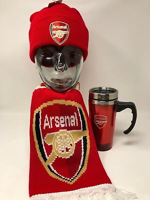 Arsenal Fc Scarf Beanie Hat Gift Set Woolly Winter Gift Set Official