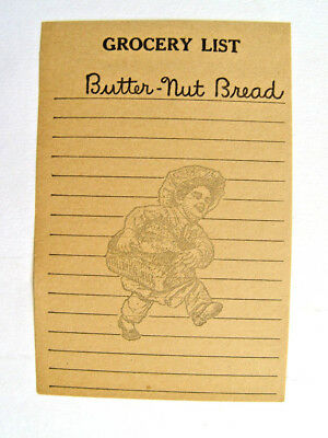 ORIGINAL 1920s BUTTERNUT BREAD SHOPPING MEMO SHEET SIGN READY FOR THE KITCHEN