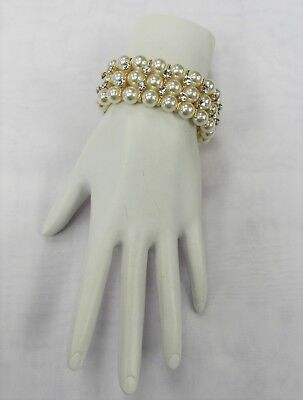 Gold Ivory Pearl & Crystal Stretch Bracelet Wedding Prom Formal Special Occasion