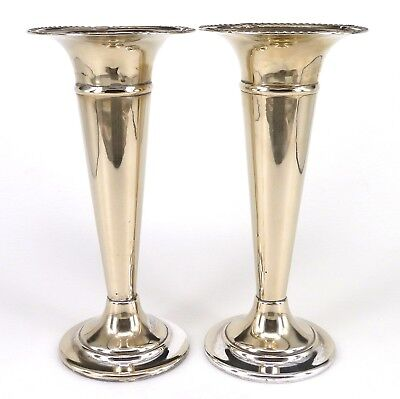 Silver Vases Matching Pair Trumpet Form