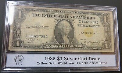 1935-A Series WW2 North Africa One Dollar Silver Certificate $1 Yellow Seal #46