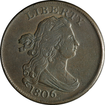 1806 Half Cent Small 6 Stemless Choice XF C-1 R.1 Superb Eye Appeal