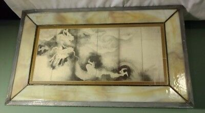 """Vintage Beautiful Stained Glass Picture Window Leaded Asian Dragon 11"""" x 19"""""""