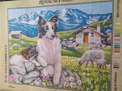 """Tapestry Canvas Sheep dog"""" Filou""""  New by Royal Paris"""