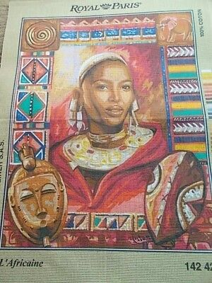 """Tapestry Canvas """"L'Africaine """" New by Royal Paris"""