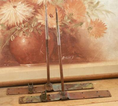 antique COPPER Lightening Rod rods lot of 2 old new stock with stands 12 3/4 in.