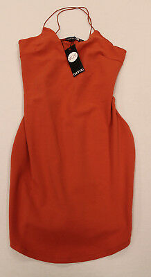 843a6b88ff01 boohoo Women's Christel Curved Hem Strappy Bodycon Dress Rust Cb4 US:8 UK:12