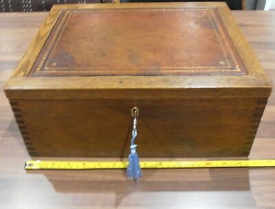 Large Antique Lined Oak Stationery Box with tooled leather top,lock & key