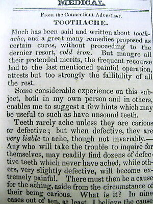 1830 newspaper w suggested CURE for a TOOTHACHE Dentist DENTAL TREATMENT Teeth