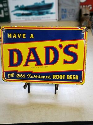 DAD'S ROOT BEER porcelain sign vintage vending machine soda fountain display