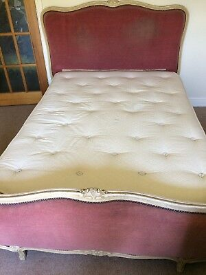 Antique Vintage French Upholstered Double, Corbeille style bed, refurb project