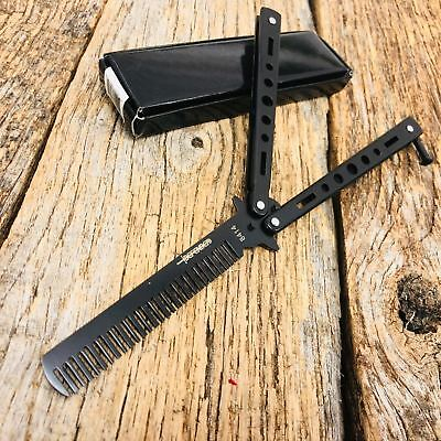 High Quality Practice BALISONG METAL BUTTERFLY COMB BRUSH Trainer Knife BLACK -T