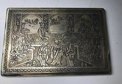 Antique Persian Sterling Silver 925 Cigarette Case Box