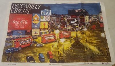VINTAGE LINEN TEA TOWEL PICCADILLY CIRCUS LONDON ENGLAND by LAMONT IRELAND
