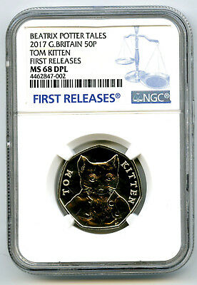 2017 Great Britain 50P Ngc Ms68 Dpl Tom Kitten First Releases Potter Rare !