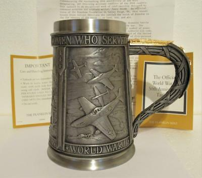 FRANKLIN MINT WWII 50TH ANNIV. TANKARD MILITARY BEER STEIN PEWTER 1990 w/ PAPERS