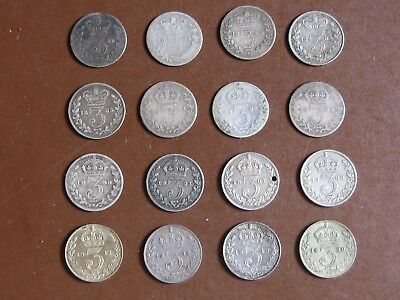 Lot of 16 Great Britain Silver 3 Pence Coins! Great collection