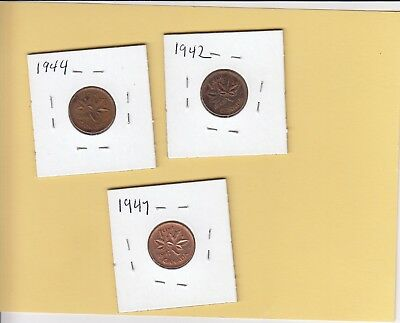 3 Canadian small cents George VI 1942 EF, 1944 EF and 1947 AU great eye appeal