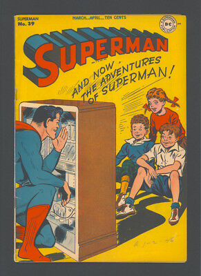 """SUPERMAN #39 """"1946"""". F/VF 7.0. Features 3 SUPERMAN stories, 1 LOIS LANE story."""