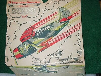 1939 Pre WWII Corn Flakes Box US Navy Curtis SBC-4 Plane Wings Over America