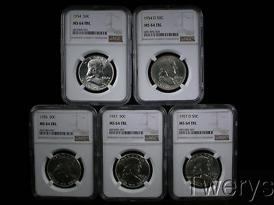 5 Piece Lot 1954 To 1957-D Franklin Half Dollars Ngc Ms 64 Fbl