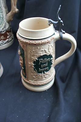 Beer Stein .75  Liter Yellow German fill and empty Missing Lid Vintage