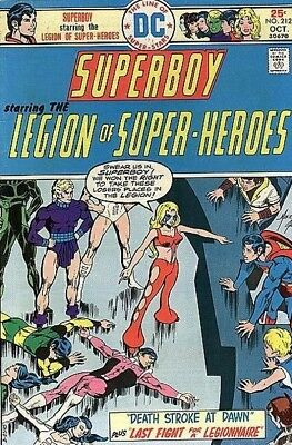 SUPERBOY #212 VG, LEGION OF SUPER-HEROES, Mike Grell, DC Comics 1975 Stock Image