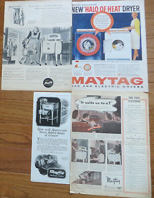 Vintage Maytag Old Magazine Print Ads Lot (4)