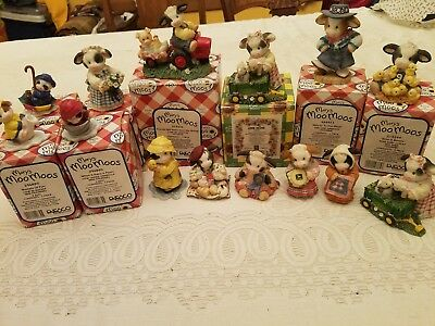 MARY'S MOO MOOS 15-pc lot Assorted Cow Figurines JOHN DEERE Tractor WAGON