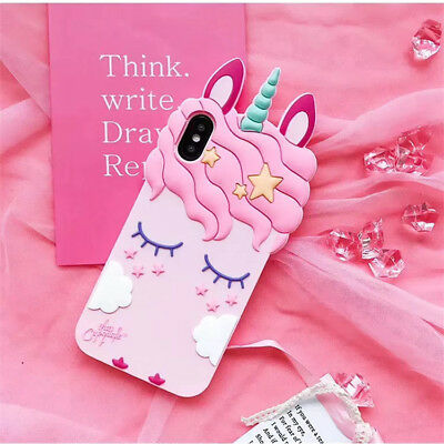 Pink Girly Unicorn Cute Phone Case Protective Silicone Gel Cover For iPhone