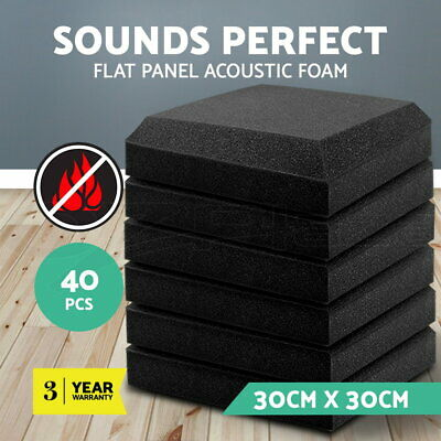 40pcs Studio Acoustic Foam Panels Tiles Sound Proofing Absorbtion DIY 30x30CM