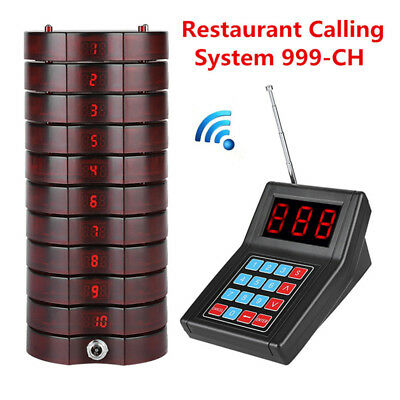 10 Coaster Pager Guest Call Restaurant Wireless Paging Queuing Calling System CO