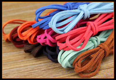 10Pcs Colourful Leather Cord Soft Suede Thong Lace Flat Rope Thread String Craft
