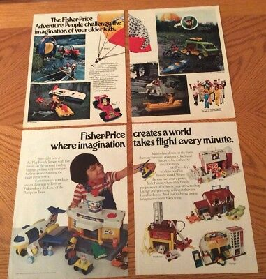 Lot Of 2 Fisher-Price Double Page Print Ads - 1978 & 1981 - For Preschool Kids