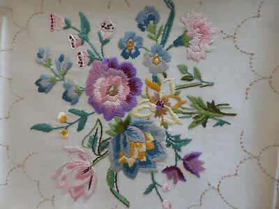 Pair matching hand embroidered pictures/ flowers, raised work.