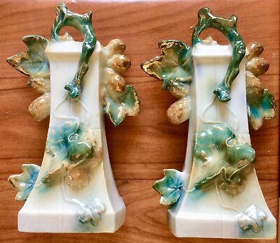 Pair Lovely Vintage INTRICATE GERMAN PORCELAIN VASES / ORNAMENTS #373