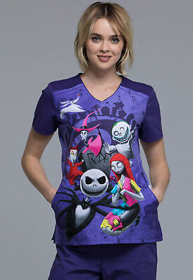 Nightmare Before Christmas Cherokee Scrubs Tooniforms V Neck Top TF639 NCRI