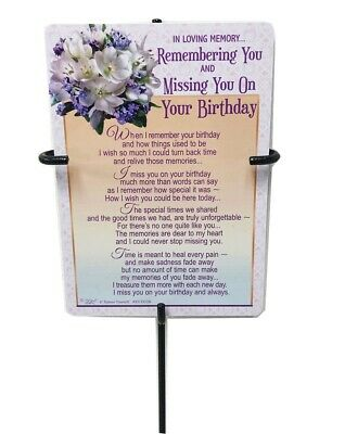 Grave Card & Holder Stake Missing You Birthday Stand Graveside Memorial Sympathy