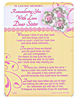 Sister Grave Cards In Loving Memory Bereavement Graveside Memorial Keepsake
