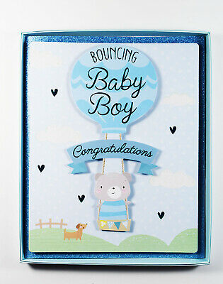 new baby boy parents boxed greeting card congratulations newborn son birth blue