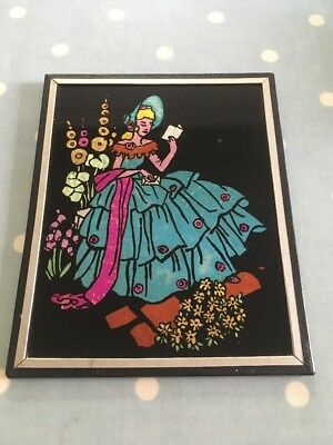 Vintage Art Deco Glass Foil Art Picture Seated Crinoline 1930s  Hollyhocks