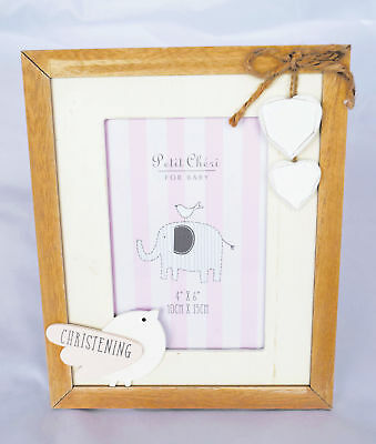 Girl Christening Day Photo Frame New Baby Pink Wooden Shabby Chic Picture Gift