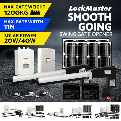 LockMaster Swing Gate Opener Automatic Full Solar Power Kit Remote Control