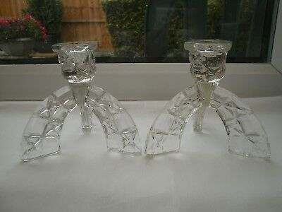 ART DECO CLEAR CRYSTAL GLASS PAIR OF Tripod/Rocket CANDLESTICKS/ HOLDERS C 1930