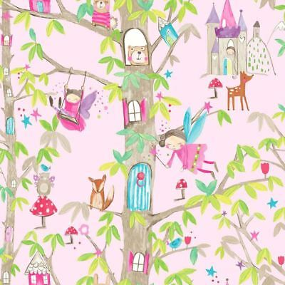 Girls Woodland Fairies Pink Glitter Wallpaper Arthouse Floral Nature Animals