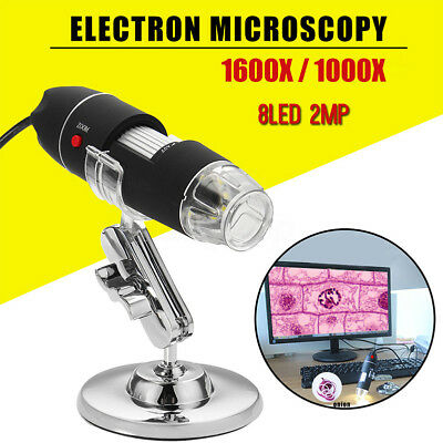 1600X Zoom 8LED USB Microscope Digital Magnifier Endoscope Camera Video W/Stand.