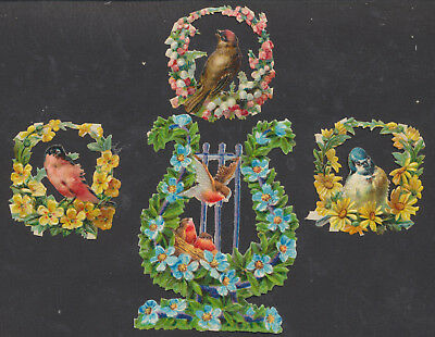S6606 Victorian Die Cut Scraps: 4 Birds in Floral Shapes